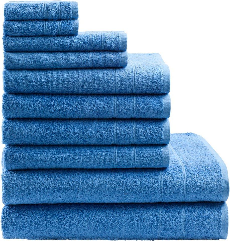 Handtuch Set, my home, »Inga«, mit feiner Bordüre in blau