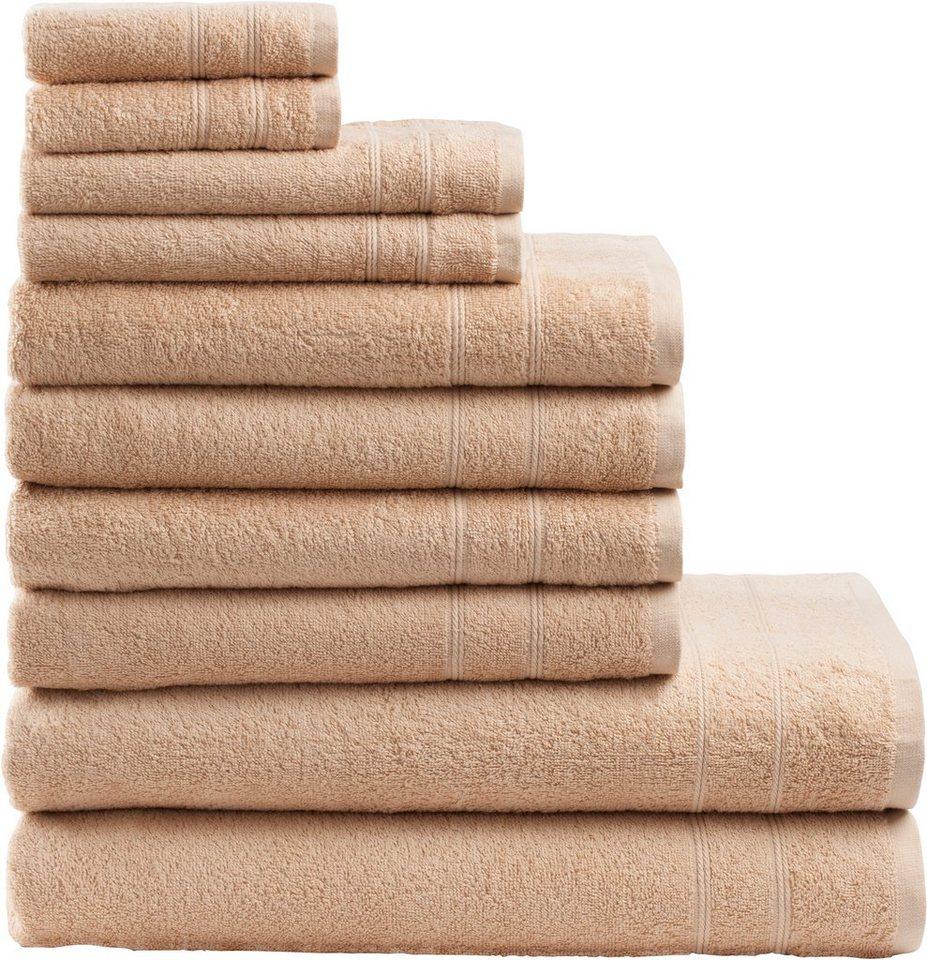 Handtuch Set, my home, »Inga«, mit feiner Bordüre in beige