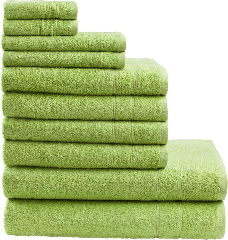 Handtuch Set, my home, »Inga«, mit feiner Bordüre in grün