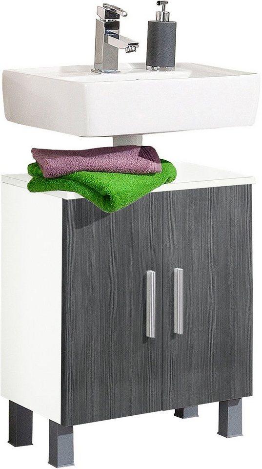 Waschbeckenunterschrank, Kesper, »Linda« in weiß-graphit Struktur