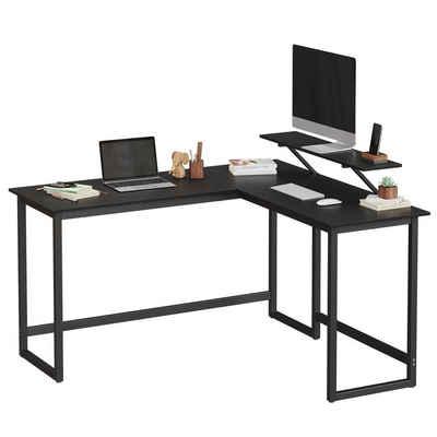 VASAGLE Eckschreibtisch »LWD56X LWD56BK«, Computertisch, Gaming, einfache Montage, schwarz