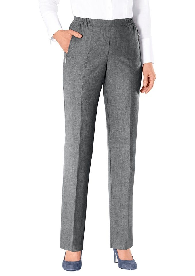 Classic Klassische Hose in komfortabler Schlupfform in grau-meliert