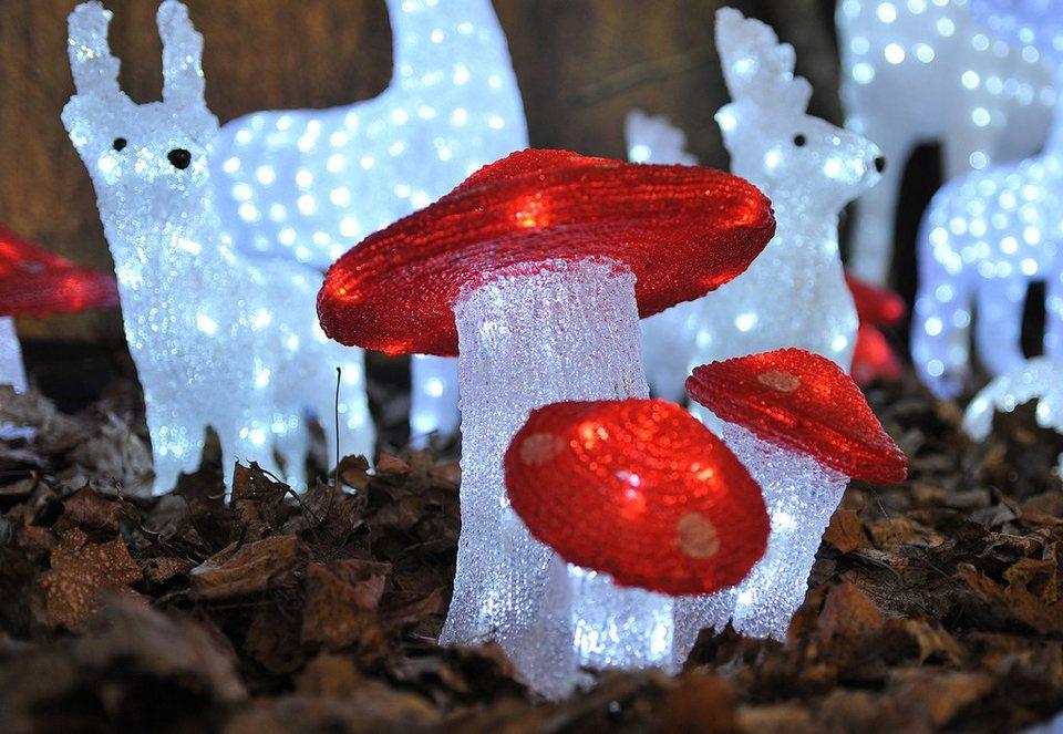 LED Acryl, »Fliegenpilz«, Konstsmide (3tlg.) in rot
