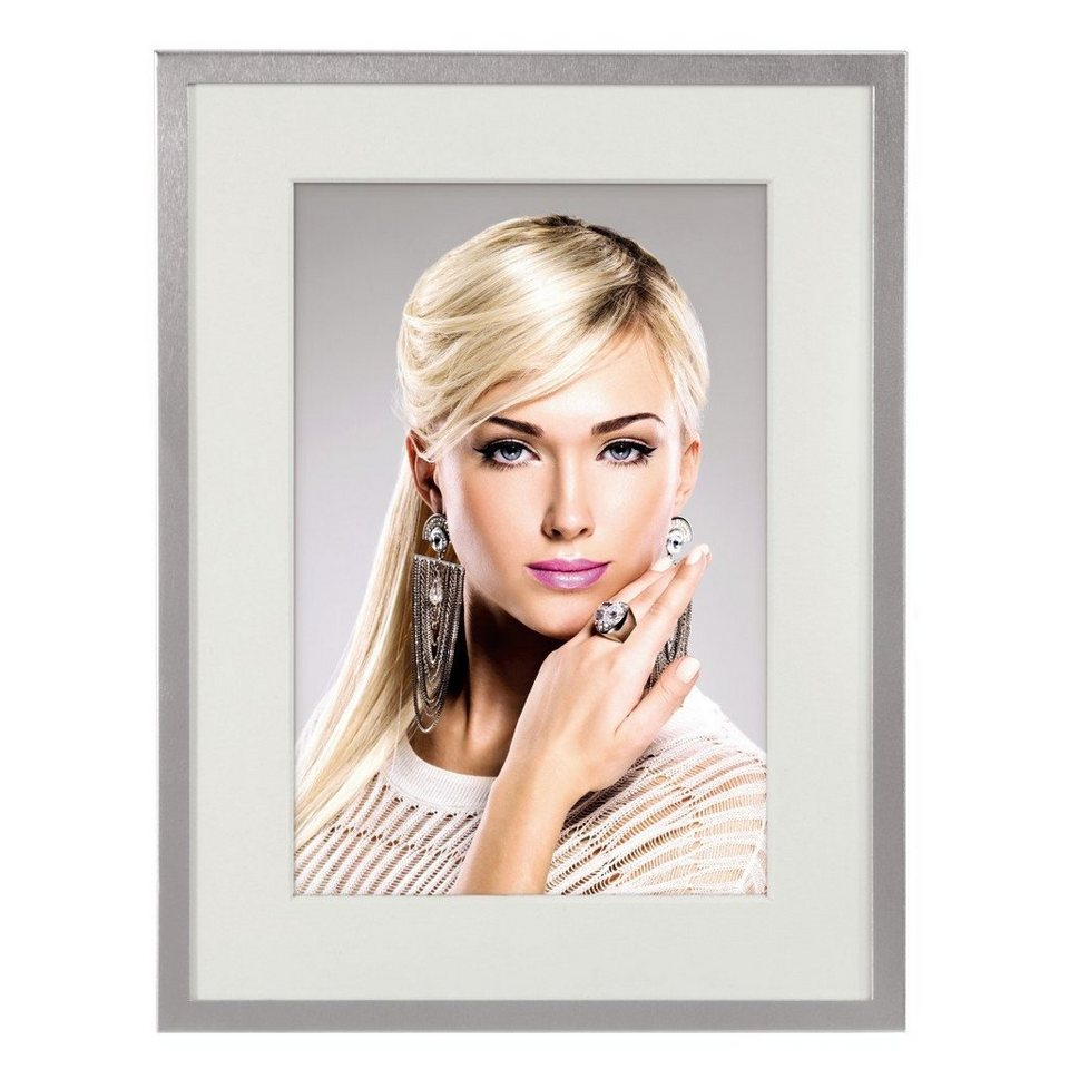 Hama Porträtrahmen Nottingham, Silber, weißes Passepartout, 10 x 15 in Silber