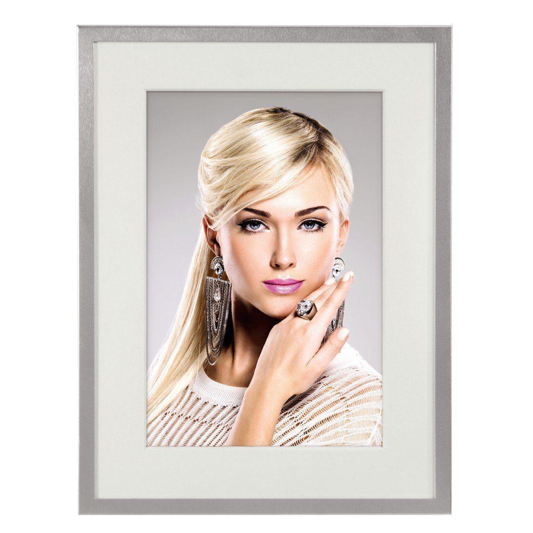Hama Porträtrahmen Nottingham, Silber, weißes Passepartout, 10 x 15