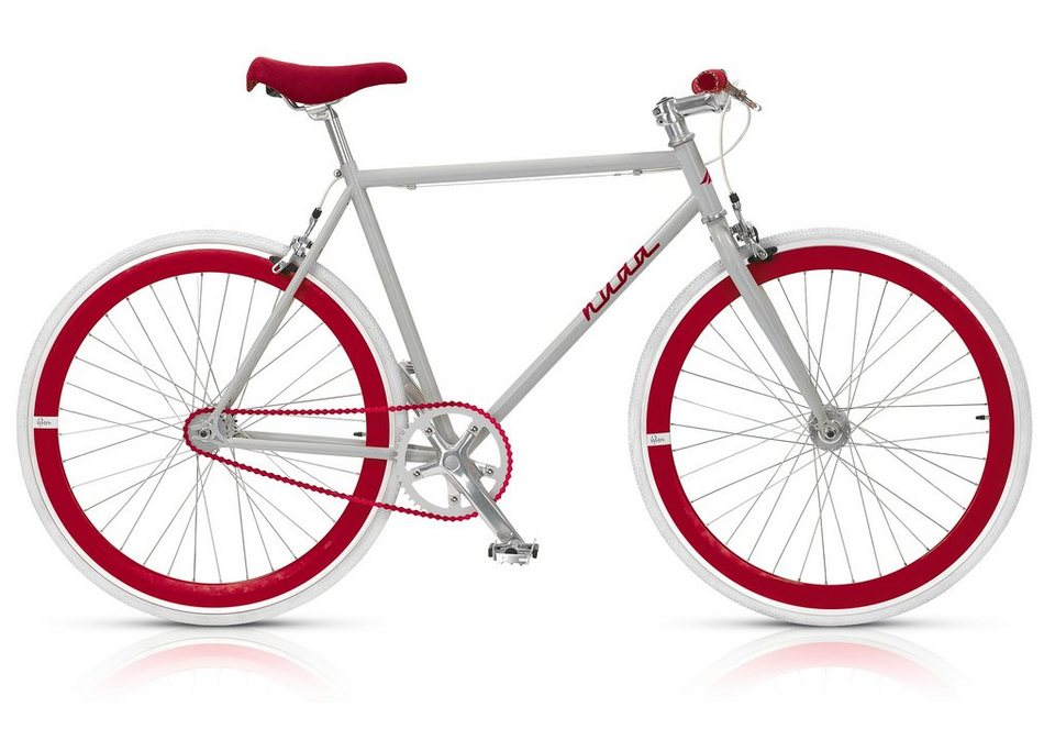 Fixie Singlespeed Fahrrad, 28 Zoll, 1-Gang (gear), »Nuda 571«, MBM in grau-rot
