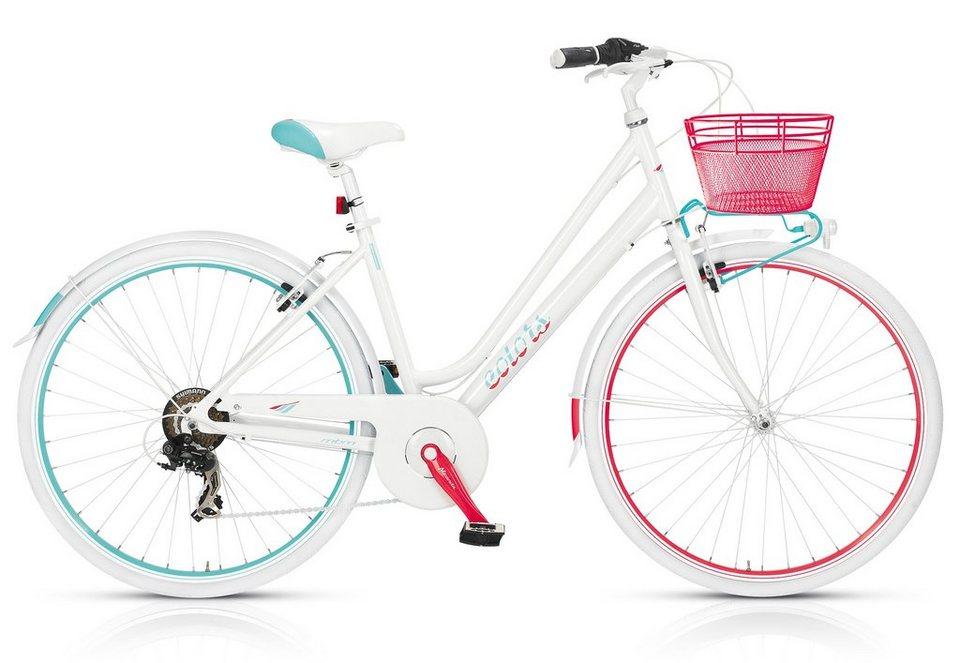 Citybike Damen, mit Korb, 28 Zoll, 6-Gang Shimano, »Colours 595«, MBM in weiß