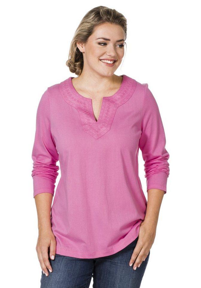 sheego Casual Langarmshirt mit Stickerei in pink
