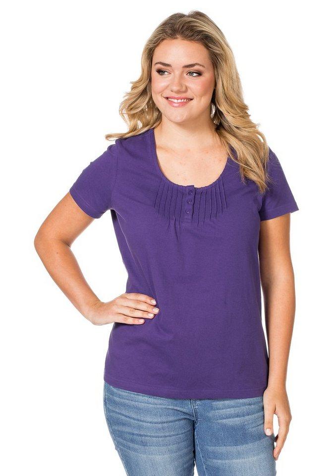 sheego Casual T-Shirt mit Biesen in lila