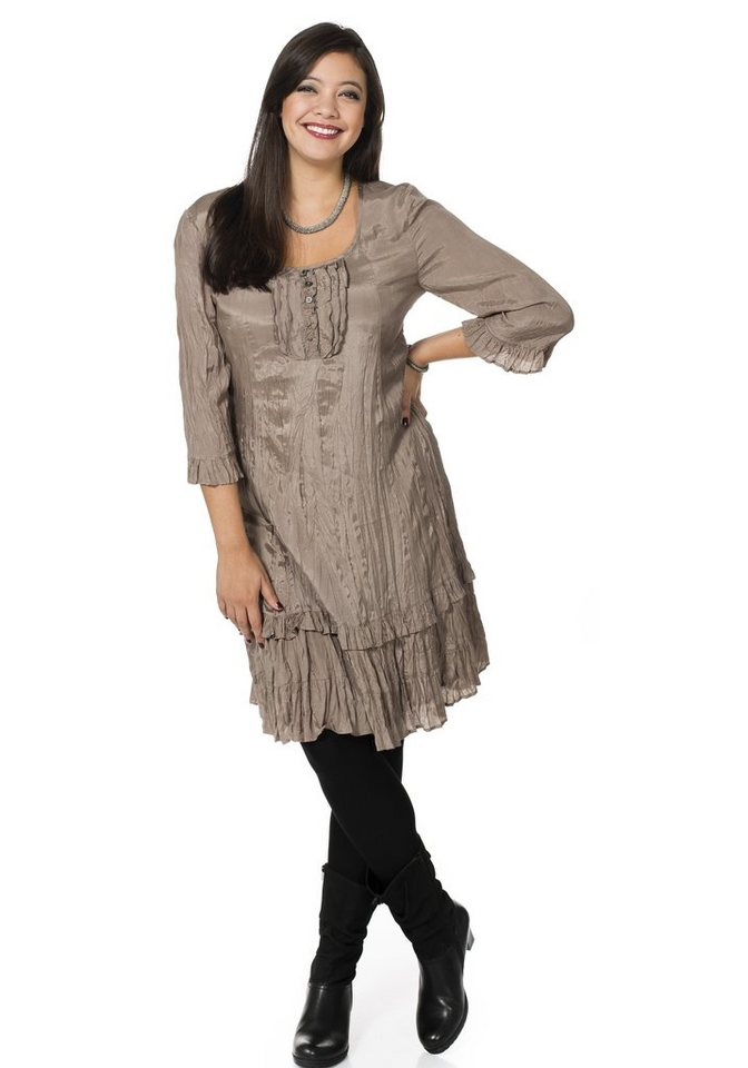 sheego Style Crashkleid mit Volants in taupe