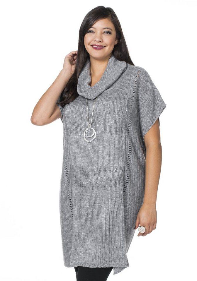 sheego Style Rollkragenpullover mit Pailletteneinsatz in grau meliert