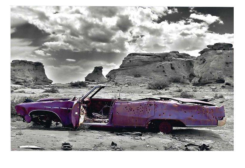Wandbild, »Wrecked Cadillac«, Premium Picture in lila