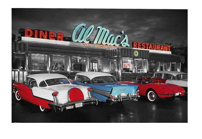 Wandbild, »Al Mac's Diner«, Premium Picture in rot