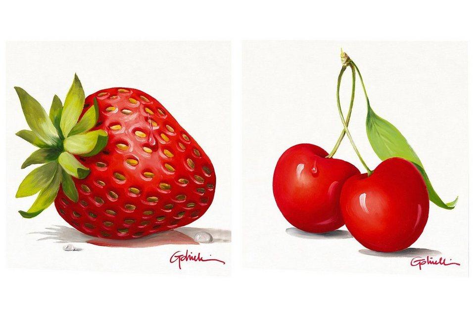 Wandbild-Set, »Erdbeere und Kirsche«, Premium Picture (2tlg.) in rot