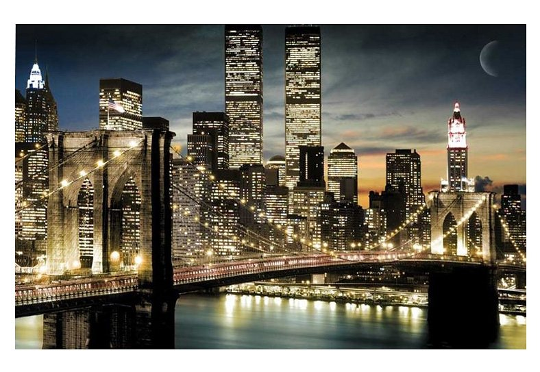 Wandbild, »New York Night & Moon«, Premium Picture in schwarz