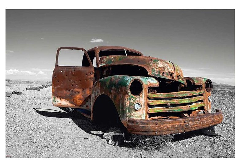 Wandbild, »Wrecked Truck«, Premium Picture in grau