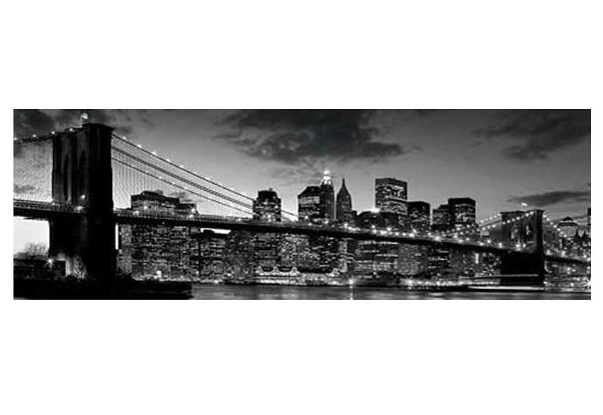 Wandbild, »New York - Brooklyn Bridge At Dusk«, Premium Picture in schwarz