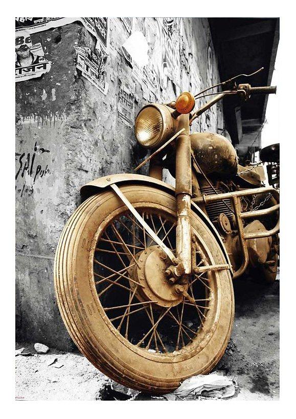 Wandbild, »Brown Motorcycles«, Premium Picture in goldfarben