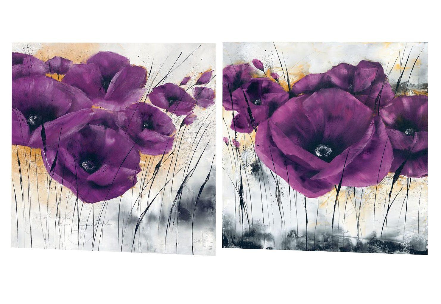 Premium Picture Wandbild »Lila Mohn«, Blumen (Set), 2x 30/30 cm