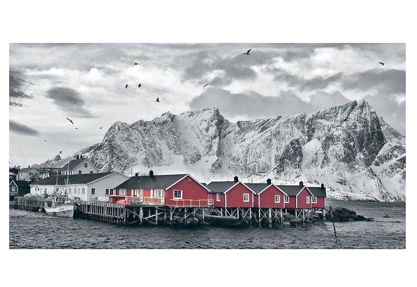 Wandbild, »Lofoten Reine mit roten Hütten«, Premium Picture in grau