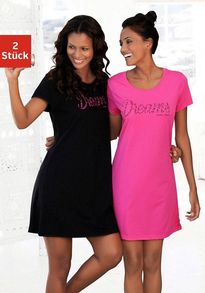 Vivance Dreams Basic Sleepshirts (2 Stück) mit Print in Spitzenoptik in pink + schwarz
