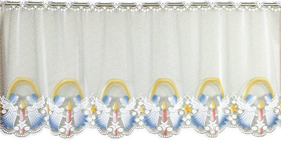 Scheibengardine, VHG, »Engel«, nach Maß in weiss / coloriert