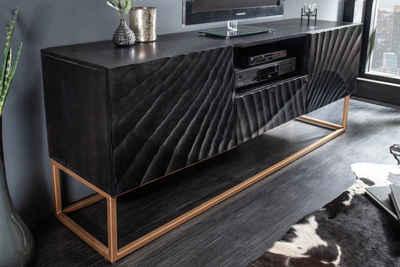 riess-ambiente TV-Board »SCORPION 160cm schwarz«, Massivholz · Lowboard · Metall · Wohnzimmer · 3D Schnitzereien
