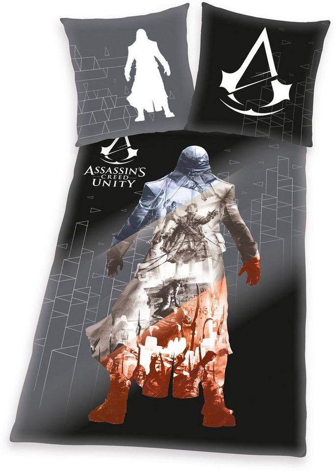 Jugendbettwäsche »Assassins Creed Unity«, kräftige Farben in schwarz