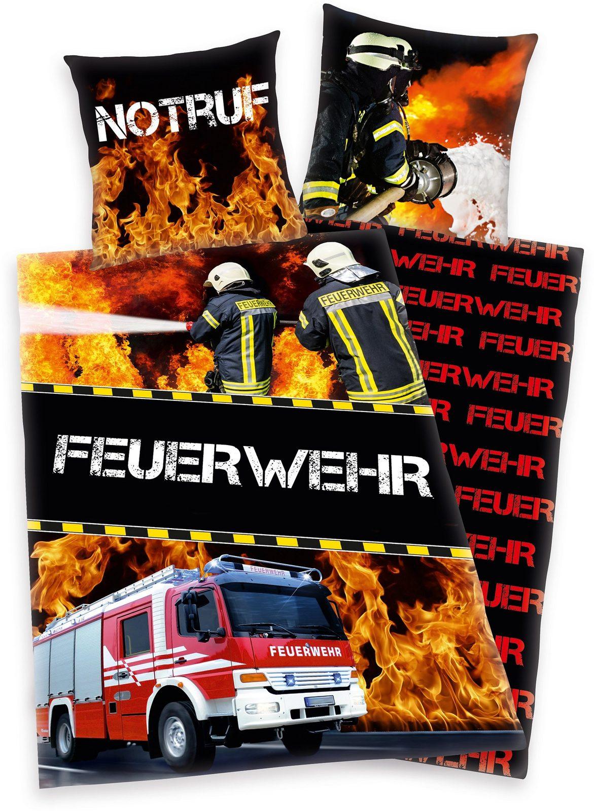 Kinderbettwäsche, Young Collection, »Feuerwehr«, mit Wendeseite