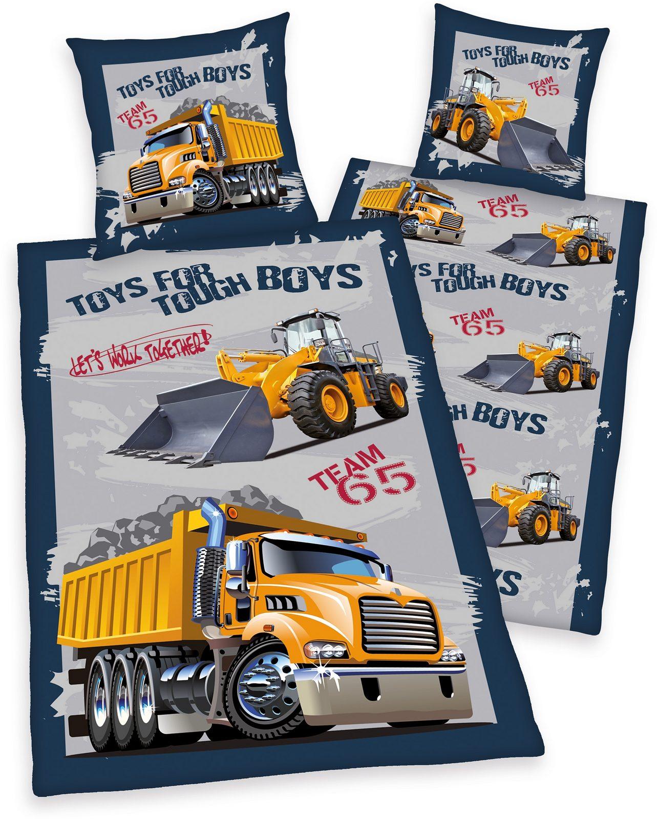 Kinderbettwäsche, Young Collection, »Baustelle«, mit Baustellen-Fahrzeugen