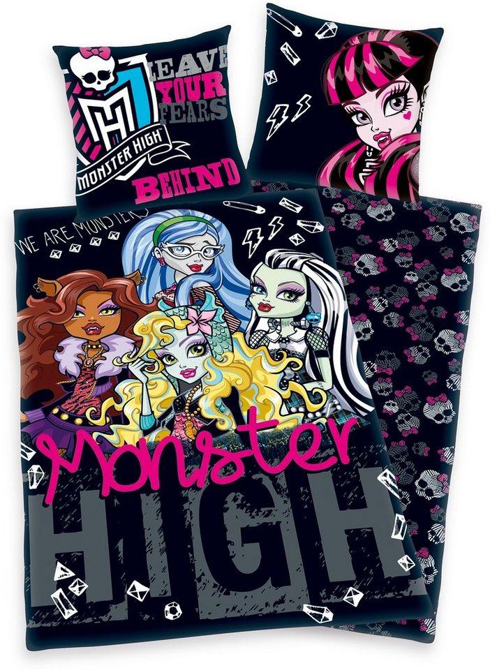 Kinderbettwäsche, Monster High, mit Wendeseite in schwarz