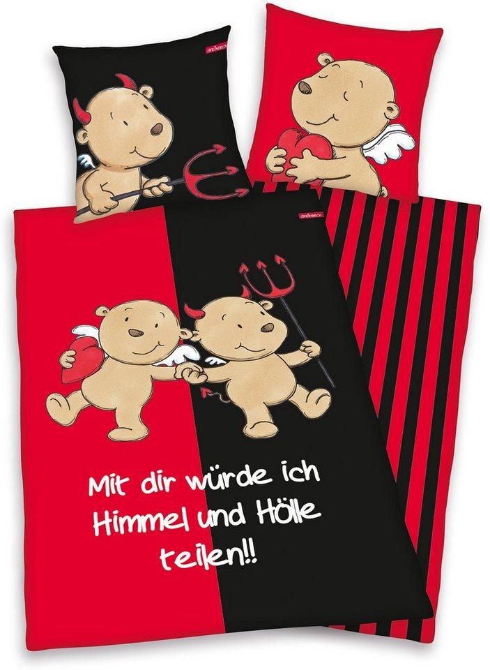 Jugendbettwäsche »Engel & Teufel«, mit Schriftzug in rot-schwarz