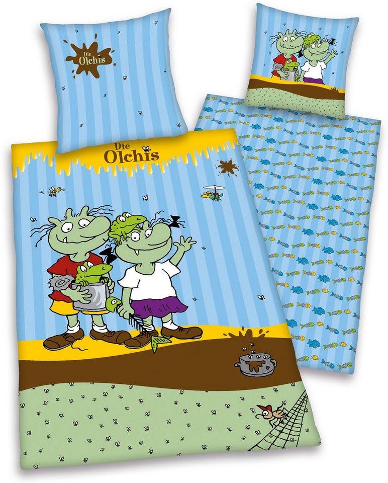 Kinderbettwäsche »Die Olchis«, mit Olchi-Familie in blau