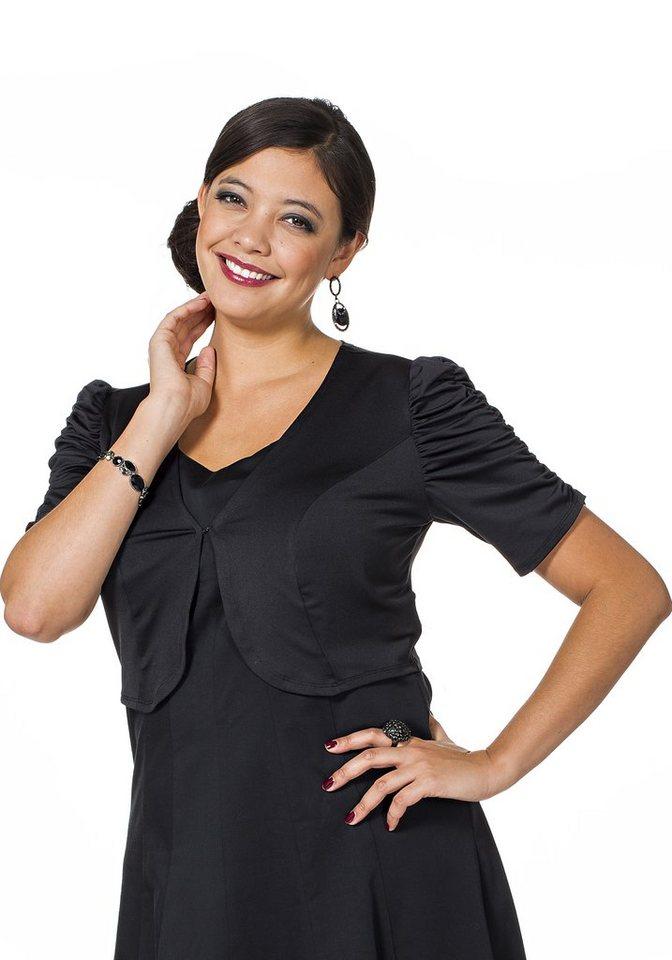 sheego Style Leicht glänzender Bolero mit gerafften Ärmeln in schwarz