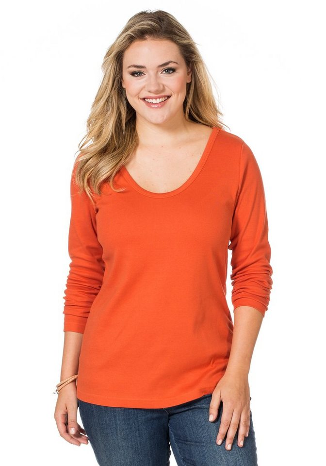 sheego Casual BASIC Shirt Long Rundhalsausschnitt in rostorange