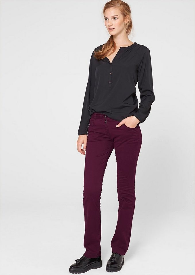s.Oliver Straight: Twill-Jeans in deep magenta