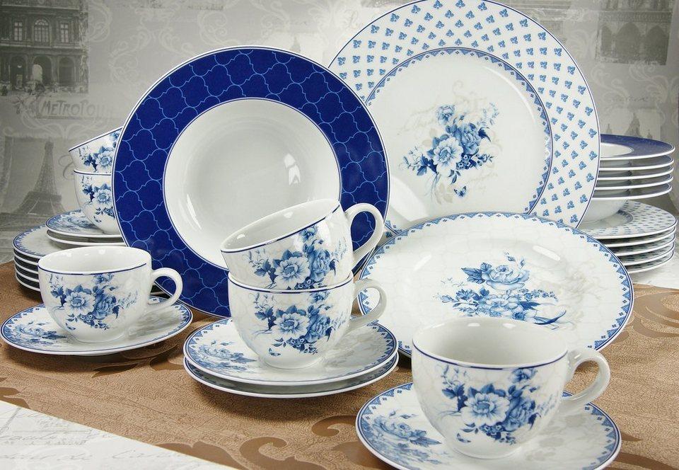 Porzellanserie, »Amelia Blue Dream«, CreaTable in Weiß mit blauem Dekor