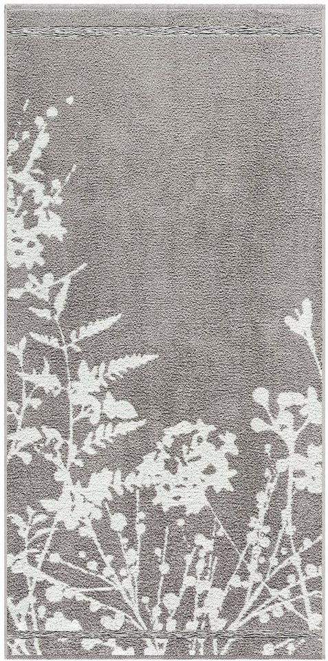 Badetuch, Egeria, »Tamara«, mit floralen Elementen in grau