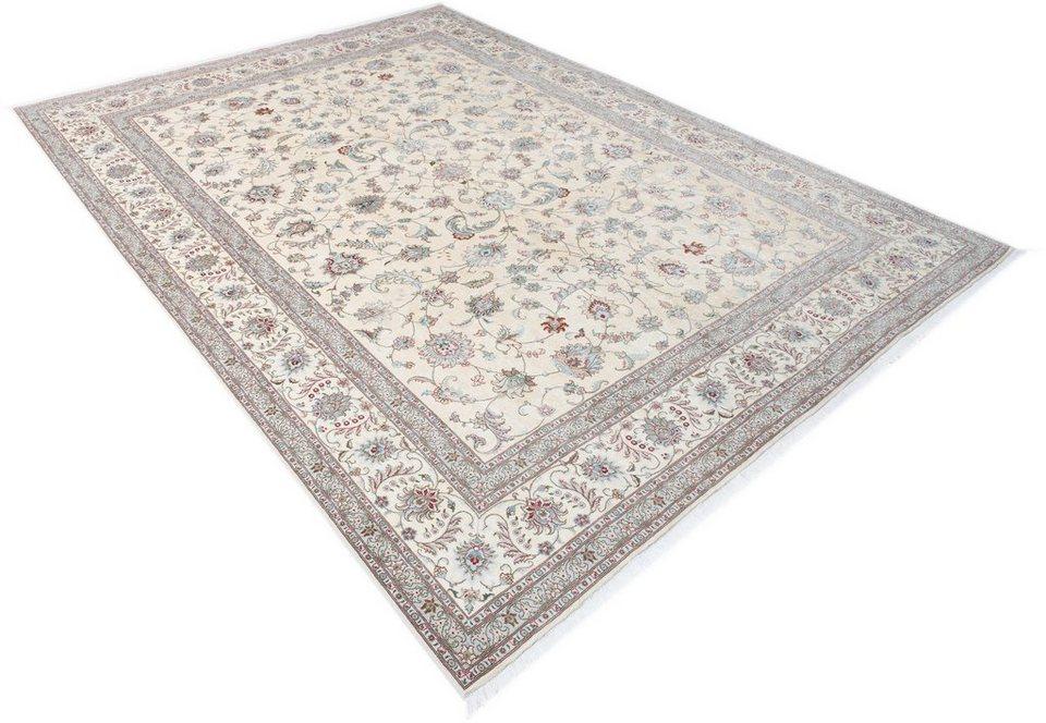 Orient-Teppich, Parwis, »Tabris Faraji«, handgeknüpft, Wolle, 700.000 Knoten/m², Unikat in creme