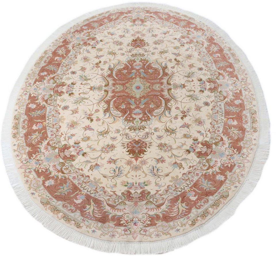 Orient-Teppich, Parwis, »Tabris Banam«, handgeknüpft, Seiden Anteil, 700 000 Knoten/m², Unikat in creme/rot