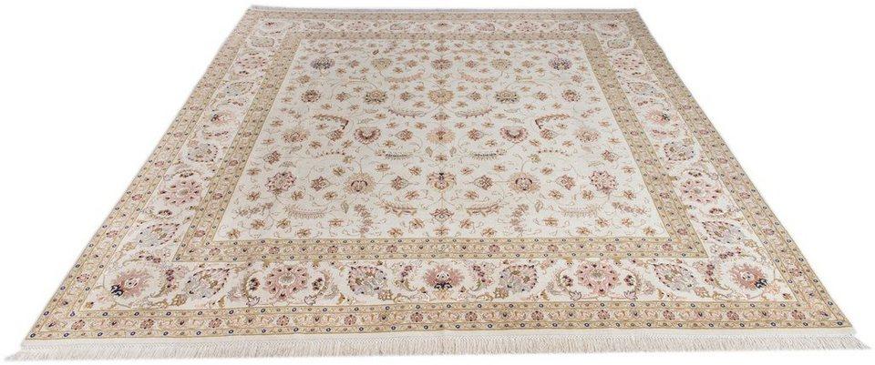 Orient-Teppich, Parwis, »Tabris Faraji«, handgeknüpft, Wolle, 700.000 Knoten/m² in creme