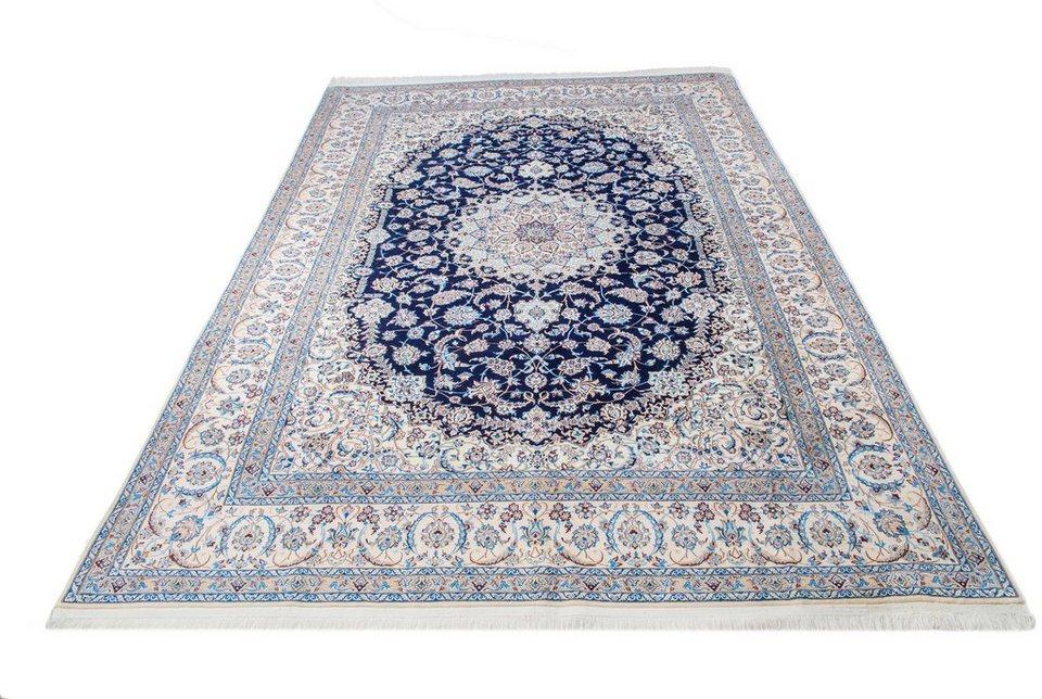 Orient-Teppich, Parwis, »Nain«, handgeknüpft, Wolle, 1.000.000 Knoten/m² in creme/blau
