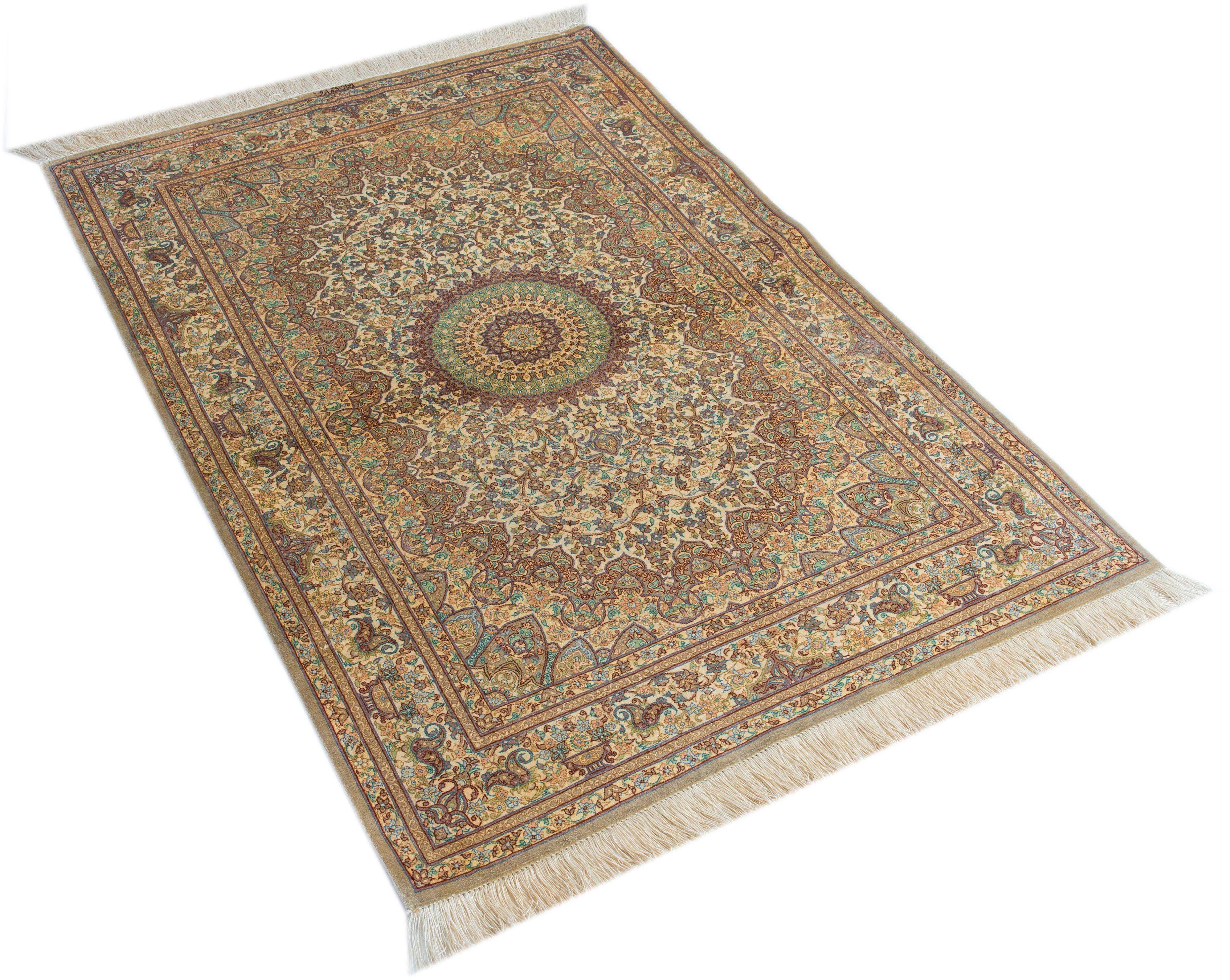 Orient-Teppich, Parwis, »Ghom Erami«, handgeknüpft, echt Seide, 1.000.000 Knoten/m²