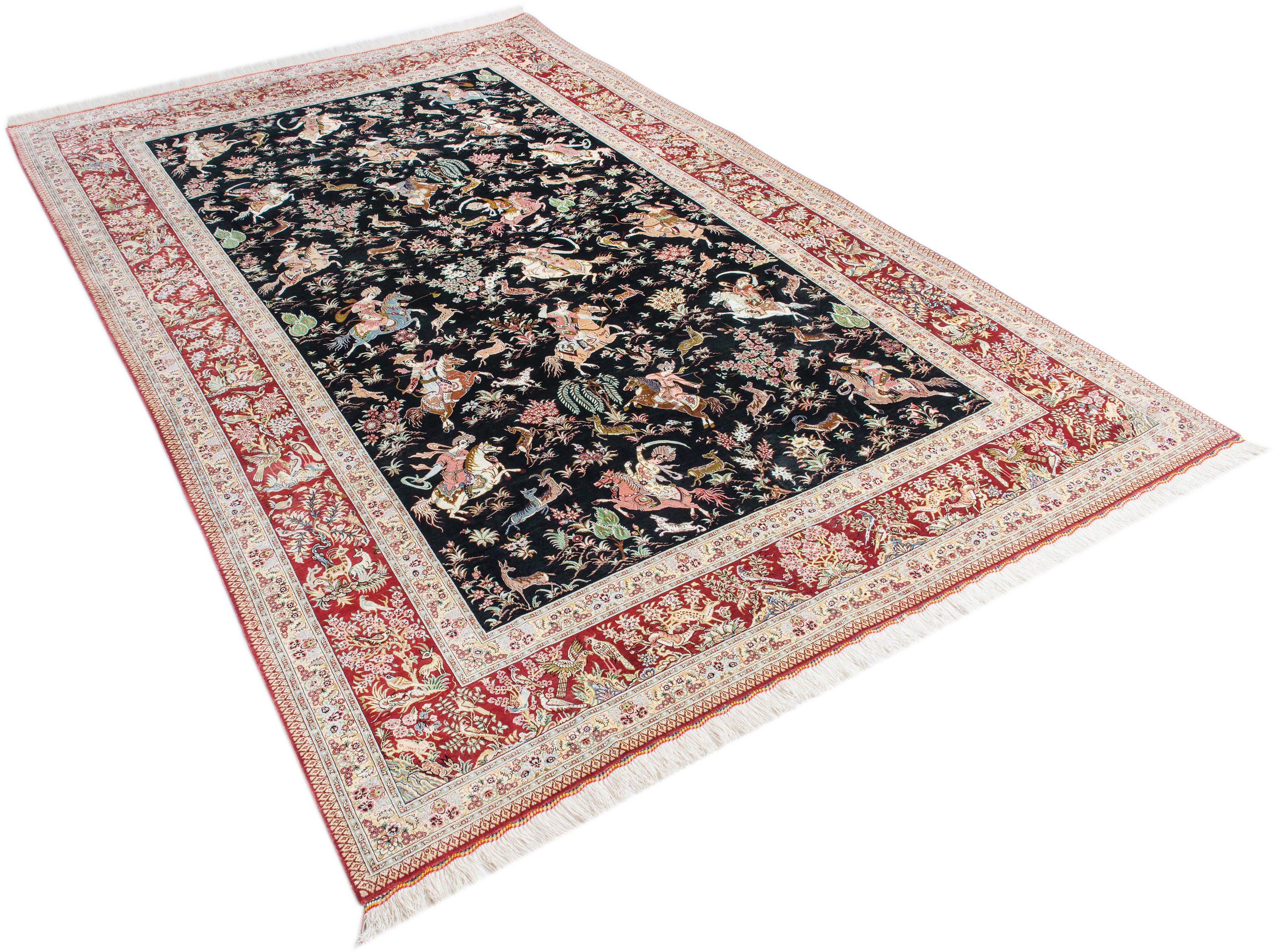 Orientteppich »Ghom Seide«, Parwis, rechteckig, Höhe 15 mm, echt Seide, 1.000.000 Knoten/m², von Hand geknüpft