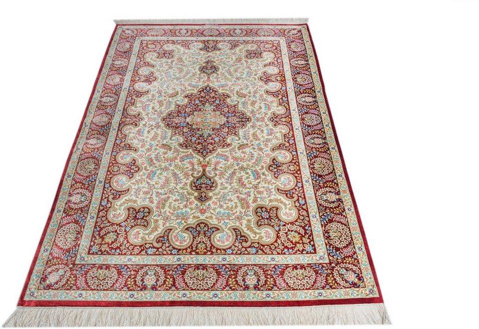 Orient-Teppich, Parwis, »Ghom Shirazi«, handgeknüpft, echt Seide, 1.000.000 Knoten/m² in rot/creme