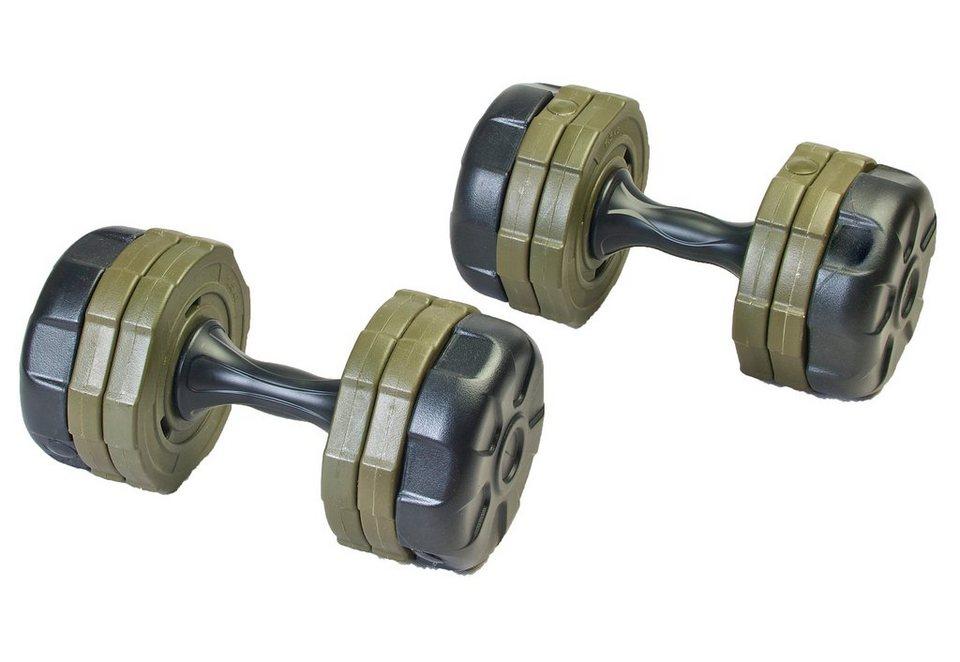 Hantelset, 2 x 10kg, Kunststoff, Ju-Sports in grau-grün