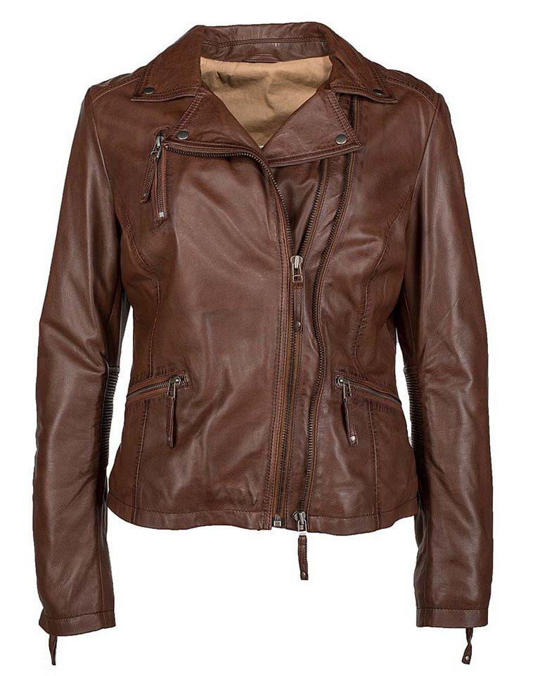 JCC Lederjacke im Bikertstil, Damen 7080 in brown