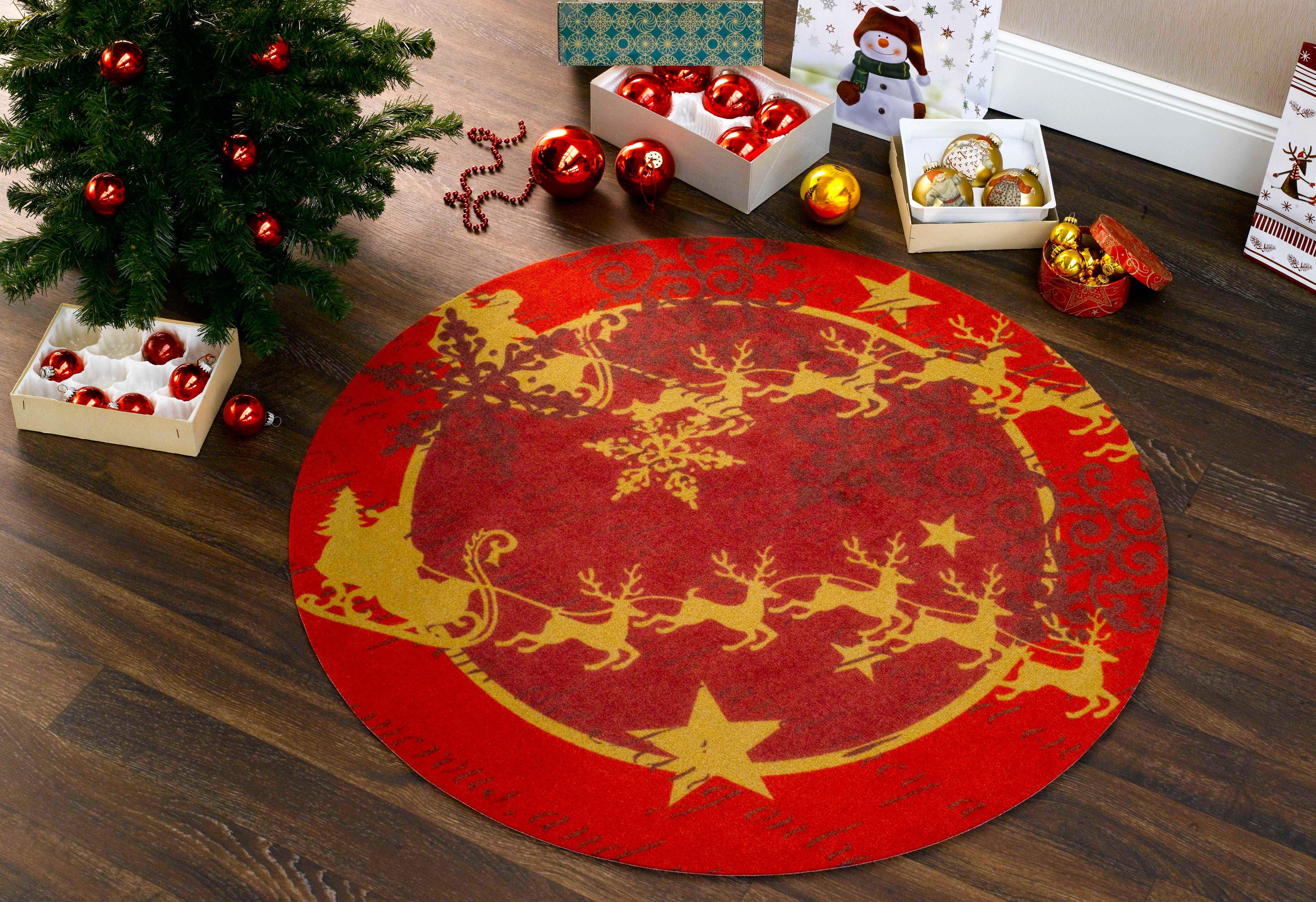 Teppich, rund, Zala Living, »Weihnachtsteppich«, getuftet