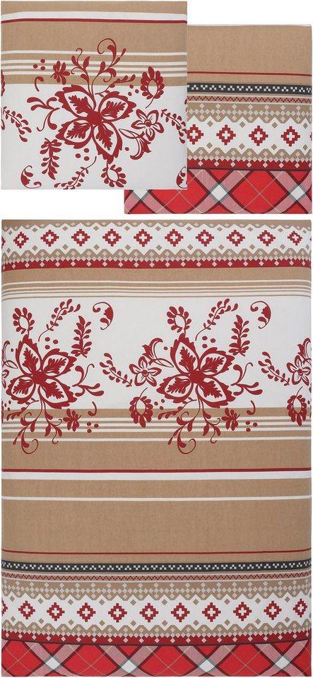 Bettwäsche, my home, »Seppi«, Muster-Mix in beige-rot