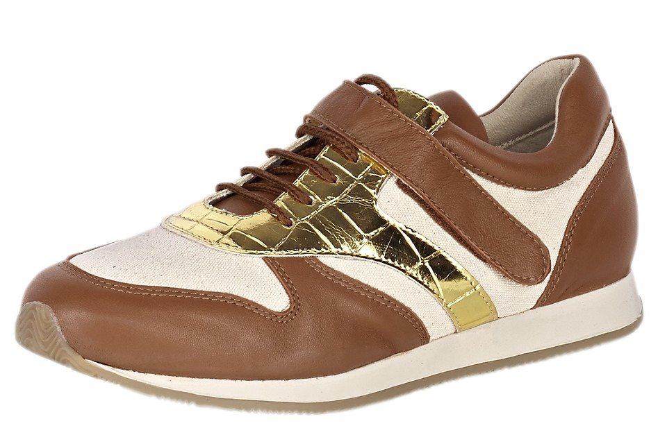 Sneaker in cognac/goldfarben